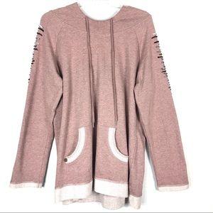 Soft surroundings pink sequin sweatshirt